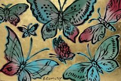 David Bromley Butterflies Original Polymer And Gold Leaf On Canvas 60cm X 90cm