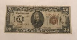 1934-a Hawaii 20 Federal Reserve Note Vf/ Xf Scarce