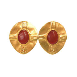 Authentic Vintage Cocomark Earrings Gold Red Brown Metal Stone 0758