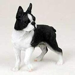 BOSTON TERRIER DOG Figurine Statue Hand Painted Resin Gift