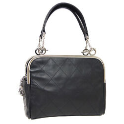 Quilted Jumbo Cc Hand Tote Bag 10065431 Purse Black Leather Auth 10362