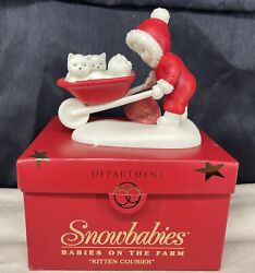 Dept 56 Snowbabies 2001 Babies On The Farm Kitten Courier Cats Iob Retired