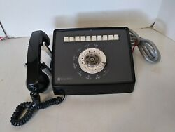 Vtg Bell System Western Electric Mid Century 10 Line Black Rotary Dial Telephone