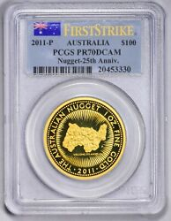 2011 Australian 25th Anniversary Gold Nugget Coin Pcgs Pr70 Dcam Low Mintage