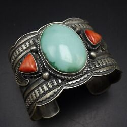 Andy Cadman Navajo Hand-stamped Sterling Silver Turquoise Coral Cuff Bracelet