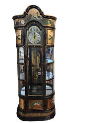 Tempus Fugit Grandfather Clock With Cabinets Peacocks And Ornate Motifs
