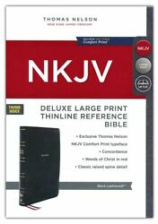 Nkjv, Deluxe Thinline Reference Bible, Large Print, Leathersoft, Black, Thumb In