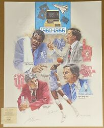 1980-88 Ncaa Final Four Lithograph Signed By John Thompson Patrick Ewing Litho