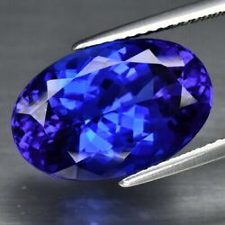 Big Rare 10.15ct If Clean Oval Natural Aaa D-block Violet Blue Tanzanite Glowing
