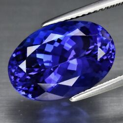 Big Rare 9.55ct If Clean Oval Natural Aaa D-block Violet Blue Tanzanite Glowing