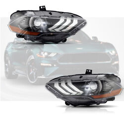 Left And Right Drl Dual Beam Front Lamps Led Headlights For Ford Mustang 2018 2019