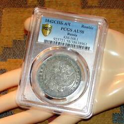 Rare Condition Russian Antique Silver Coin Rouble 1842 Pcgs Au58 Imperial Russia