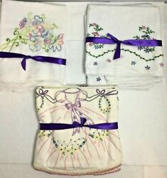 3 Sets Vintage Pillowcases...1980's Embroidered Never Used Standard Size