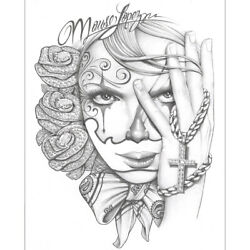 Diamond Roses By Mouse Lopez Latina Mexican Girl Tattoo Canvas Fine Art Print