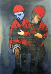 Charles Blackman Two Schoolboys Signed Limited Edition Print 100cm X 70cm