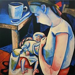 Charles Blackman Barbara And Auguste Signed Limited Edition Print 100cm X 100cm