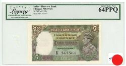 India ... P-18b ... 5 Rupees ... Nd 1943 ... Choice Unc.