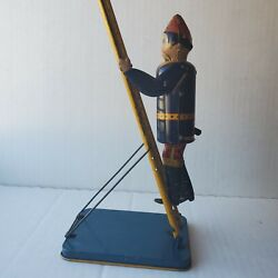 Smokey Joe Climbing Firefighter -vintage Windup Toy Bylouis Marx And Co.