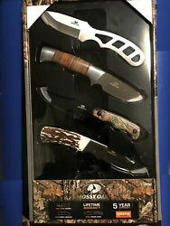 New Mossy Oak 4 Pack Variety Fixed Blade Knife Box Set With Sheaths 7 Length