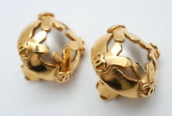 Earring 95p Women Gold Coco Mark Pearl Round Authentic Rare