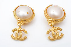 Earring 96a Women Gold Coco Mark Pearl Swing Unused Authentic Rare