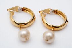 Earring Women Gold Coco Mark Pearl Swing Authentic Rare