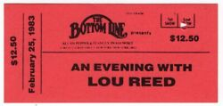 Vintage Lou Reed Concert Ticket - Bottom Line - Nyc - Feb. 25, 1983 - Very Rare