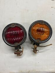 Rare Pair Vintage Signal Stat 704 Turn Signals Light Truck Red Amber 2 Sided Bus