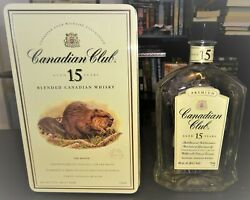 Canadian Club 15 Year Whiskey Rare Beaver Wildlife Collection Tin And Bottle Empty