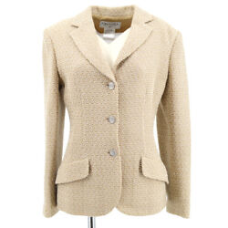 98p 38 Cc Button Single Breasted Long Sleeve Coat Jacket Beige 41206