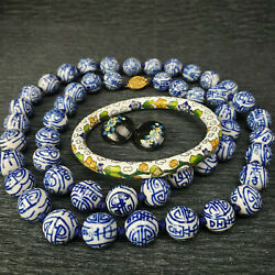 Chinese Porcelain Blue Shou Beads Long Necklace Cloisonne Bangle +earrinngs