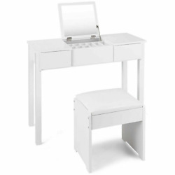 2 Piece White Vanity Dressing Table Set Mirrored Bedroom Furniture With Stool An