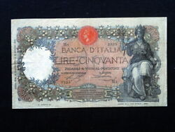 1915 Italy Kingdom Rare R3 First Date Banknote 50 Lire Buoi Vf+/bb+ High Quality