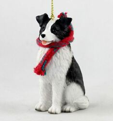 LARGE 3quot; BORDER COLLIE DOG CHRISTMAS ORNAMENT HOLIDAY XMAS Figurine Scarf gift