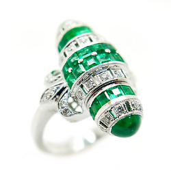 Antique Reproduction 14k White Gold Diamond And Emerald Ring