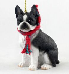 LARGE 3quot; BOSTON TERRIER DOG CHRISTMAS ORNAMENT HOLIDAY XMAS Figurine