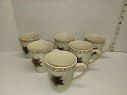 Set Of 6 Merry Brite Coffee Mug Cup 8 Oz Holiday Christmas Red Poinsettia