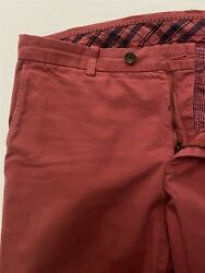 Brooks Brothers 34 X 32 Nantucket Red Milano Navy Flat Front 100 Cotton Chinos
