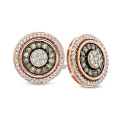 1/2 Ct Round Champagne And White Diamond Frame Cluster Stud Earrings 10k Rose Gold