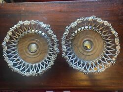 Pair Of Antique Silver Plated Wine Bottle Coasters By Elkington 1852 And 1854
