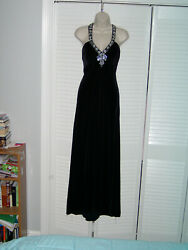 Betsy amp; Adam Womens 10 Black Velvet Evening Gown Adorned W Diamond Crystals $65.00