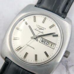 Longines Admiral Automatic Day Date Silver Dial Ss 37mm Square Authentic Vintage