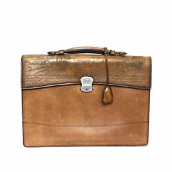 Berluti Briefcase Leather Brown Silver Metal With Lock Keys Menand039s Authentic