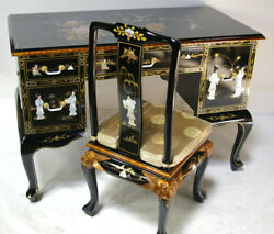 Oriental Desk Furniture Black With French Lacquer With Chair