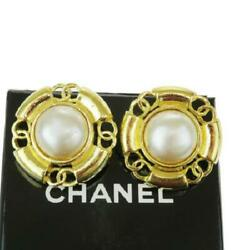 Earring 29 Women Gold Coco Mark Pearl Metal Authentic Rare W/box
