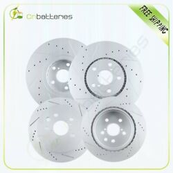 Front + Rear Drilled And Slotted Brake Rotors For Lexus Gs350 2007 - 2008 - Rwd