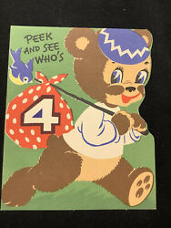 3556🌟Vintage PEEK amp; SEE Who's 4 Bear Hobo Stick With Red Bandana Birthday Card $8.95