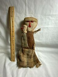 Peruvian Doll Woman With Child Extremely Old Cultural Clothes Stick Fingers