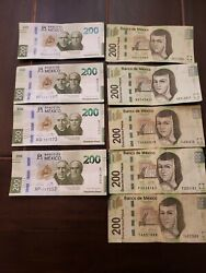 200 Mexican Bank Notes The New Note And The One Itand039s About Replace. A Total 9