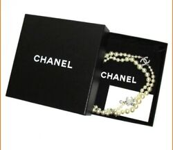 Long Necklace White Costume Pearl Beaded Gold Cc Logo 10v With Box And Bag